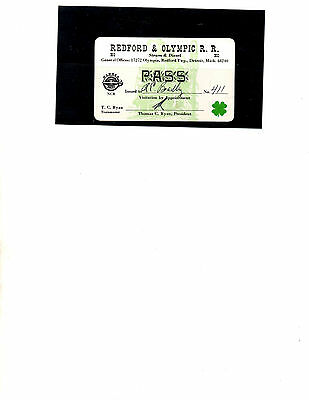 Redford & Olympic Railroad Pass (Item 0166)