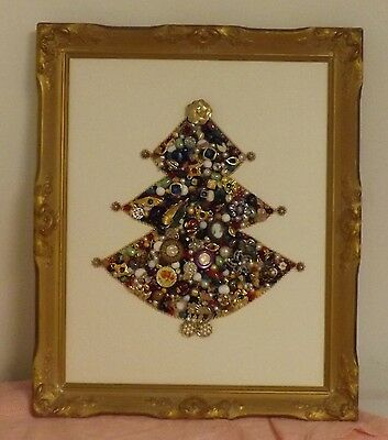 Hand Made Costume Jewelry Christmas Tree. Framed Approx 24 X 20 Inches