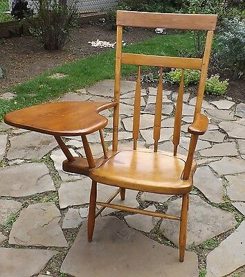 Windsor Arrow Back Writing Arm Chair. Box Stretcher. Circa 1850 Middlesex County