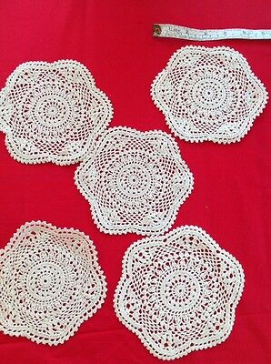 5 Pieces x Cream Doily Doilie 15cm Lace Craft Sewing Vintage Style Crochets New