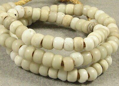 Old WHITE PADRE Glass Trade Beads 9 to 10 mm diameter