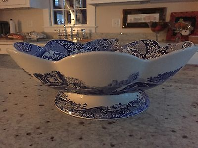 Spode Blue Italian Large Scalloped Footed Fruit / Serving Bowl Made In England