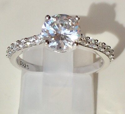 2ct Solitaire Engagement Created  Diamond Ring 925 Sterling Silver Platinum