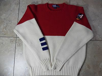 VTG Ralph Lauren Polo Sweater Red/White/Blue Polo Suicide Ski Patch Wool XL