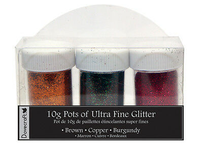 Dovecraft Ultra Fine Glitter 3 pots 10g - Chocolate, Copper, Burgundy
