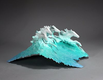SURF HORSES Sculpture New direct from John Perry Ocean Figurine 14in Long Decor