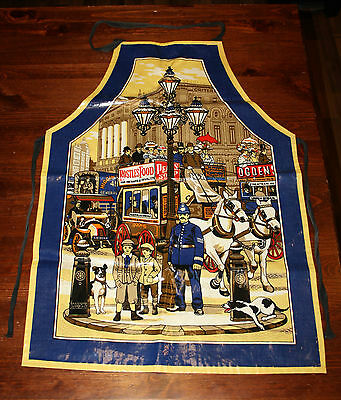 Vintage British Street Bobby Horse Carriage PVC Apron Made in England Cotton