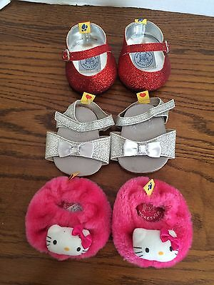 BABW Build A Bear Workshop Girls Shoe Lot 3 Pairs Slippers Red Silver Sparkle