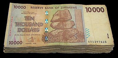 25 x Zimbabwe 10,000(10000) Dollar banknotes- AA/2008 / currency 1/4 bundle