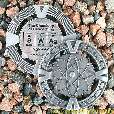 """SWAg - The Chemistry of Geocaching! (Ant. Silver Colour, 2.5"""" + Cutouts)"""