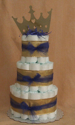 3 Tier Diaper Cake New Little Prince Charming Gold Baby Shower Centerpiece