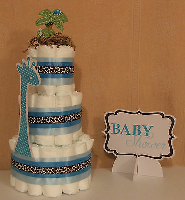 3 Tier Diaper Cake Blue/Brown Wild SAFARI Theme Baby Shower Centerpiece