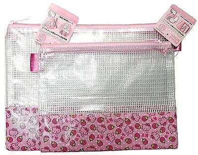 SANRIO HELLO KITTY See-through Pouch Cute Pink S and L Size  F/S AIRMAIL JAPAN