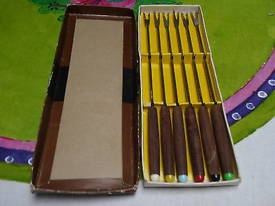 Vintage Fondue Fork Set of 6 Boxed Coloured Ends Wood Handles Retro
