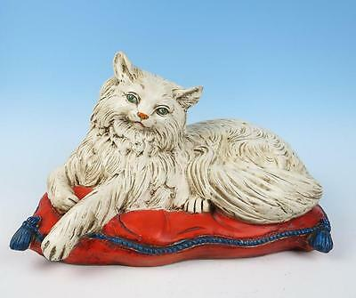 Vintage LARGE Italian Art Pottery Persian Cat on Pillow Figurine Statue Italy