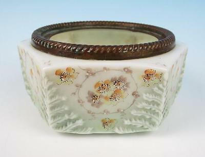 Antique Wavecrest Ferner Bowl Vase Planter Metal Mounted Art Glass Enameled