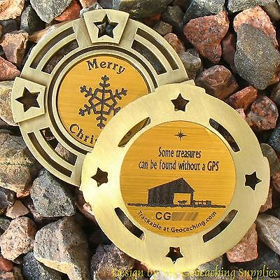 The Christmas Stable TRACKABLE Geocaching GeoMedal Geocoin (Ant. Gold Colour)