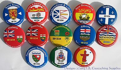 Set of 13 TRACKABLE Canadian Province & Territory GEOCACHING Buttons