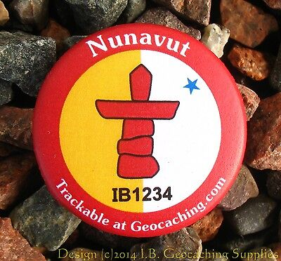 Nunavut TRACKABLE Canadian GEOCACHING Button (unactivated)
