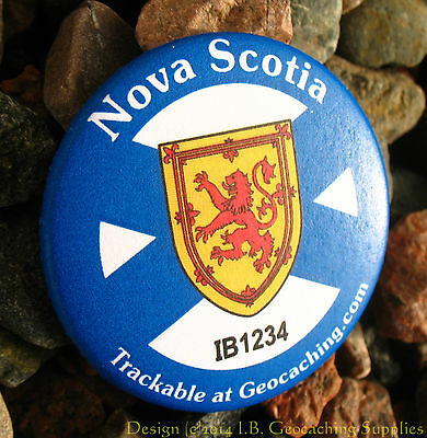 Nova Scotia TRACKABLE Canadian GEOCACHING Button (unactivated)