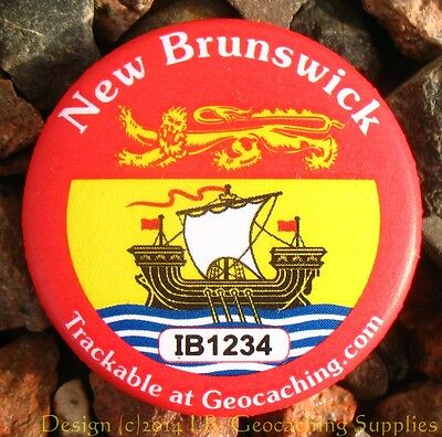 New Brunswick TRACKABLE Canadian GEOCACHING Button (unactivated)