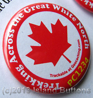 Trekking Across the Great White North Maple Leaf Trackable Button