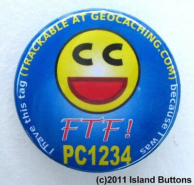 Geocaching FTF (First to Find) Smilie Trackable Button