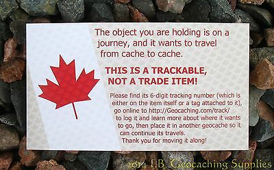 20 Canadian Info Cards for Geocoins/Geocaching Trackables (blank back)