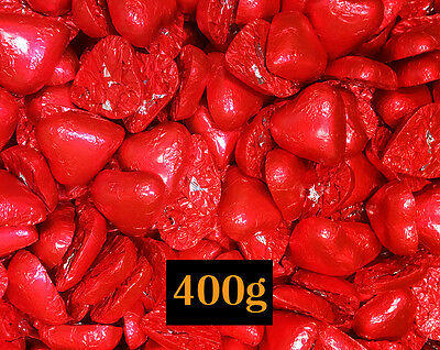 400g Red Foil Solid Milk Chocolate Hearts approximate 55 pieces chocolate heart