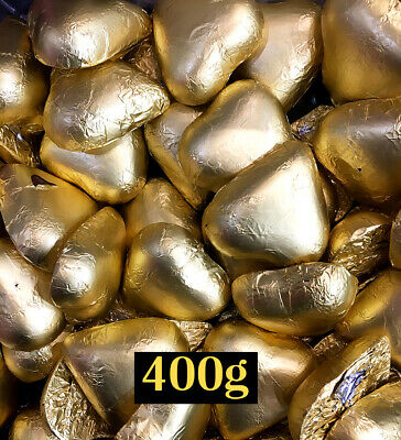 400g Gold Foil Solid Milk Chocolate Hearts approximate 35 pieces chocolate heart