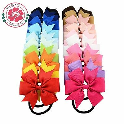 GIRL BABY Grosgrain Ribbon Hair Bows WITH ELASTIC BOBBLE