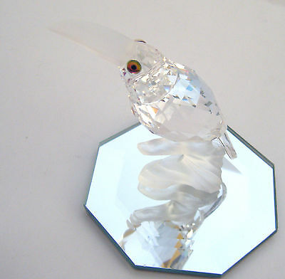 "Swarovski Crystal Retired ""toucan Up In The Trees"" Figurine Plus Mirrored Stand"