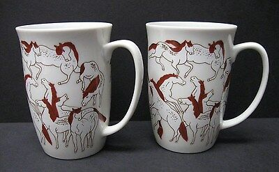 A Hundred Stallions T'ang Dynasty Takahaski Asian Hand Decorated Rare Mugs (2)