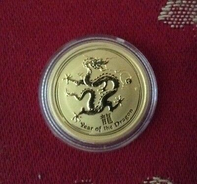 Perth Mint 2012 Year of the Dragon 1/10oz 9999 Fine Gold Coin UNCOLOURED