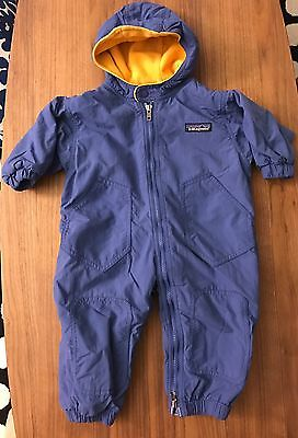 Patagonia Baby Bunting Sz 6mo Light Blue Nylon &yellow Fleece
