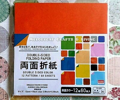 60PCS Double-Sided Japanese Origami Paper 12 Color Combinations !! 15cm x 15cm