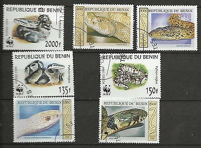 Lot de timbres du Benin Serpent