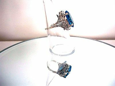 Superb 10Ct Natural 'london Blue' Topaz Ring Art Nouveau Style  ~ Sterling 925