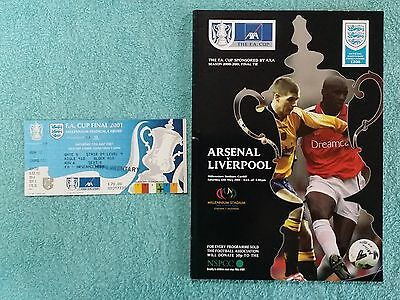2001 - FA CUP FINAL PROGRAMME + MATCH TICKET - ARSENAL v LIVERPOOL (a)