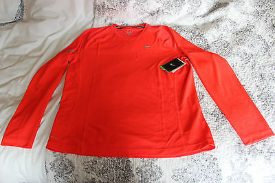 Nike Miler Dri-Fit Running Long Sleeve top Mens Size L Colour Coral NWT
