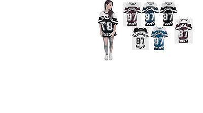 d0435746a75ce New Women Girls Ladies Baggy Chicago Wolves 87 Printed Long Baseball TShirt  Top