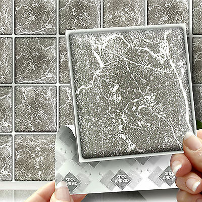18 Stick & Go Grey 'Marble' Wall Tiles, Stickers for Kitchen or Bathroom