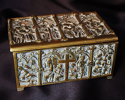 A lovely and unusual Victorian brass gothic casket with religious scenes