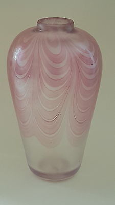 Sanders and Wallace pink iridescent ribbon trailed glass shouldered vase C