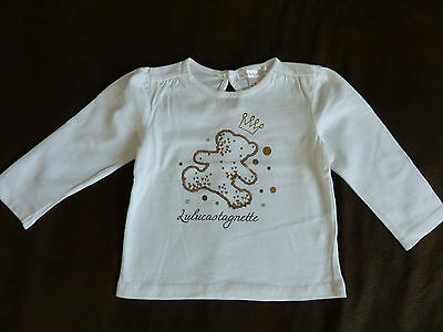 tee shirt manches longues blanc fille 12 mois Lulu Castagnette