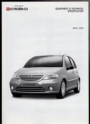 Citroen C3 Hatchback Specification 2002 UK Market Foldout Brochure