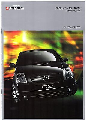 Citroen C2 Specification 2003-04 UK Market Brochure L LX SX Furio VTR