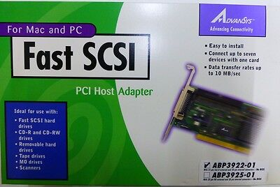 AdvanSys PCI Fast SCSI Card for Mac and PC ABP3922-01 50pin Int / 25pin Ext