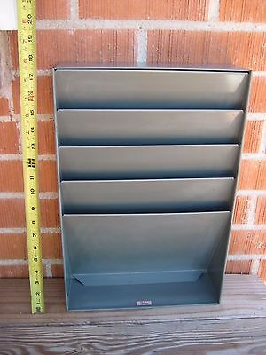 Vintage * GWS * 4-Slot Metal Office Paper Clip Board File Cabinet Organizer