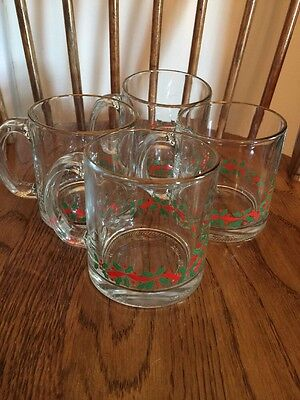 4 Vintage Arby's Libbey Glass Holiday Mugs Holly & Berry Design  1980's